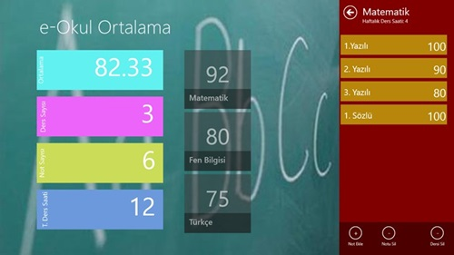 Windows 8 İçin Lise ve İlköğretim Ders Notu Ortalaması Hesaplama Programı – e-Okul Ortalama İndir Yükle Bedava