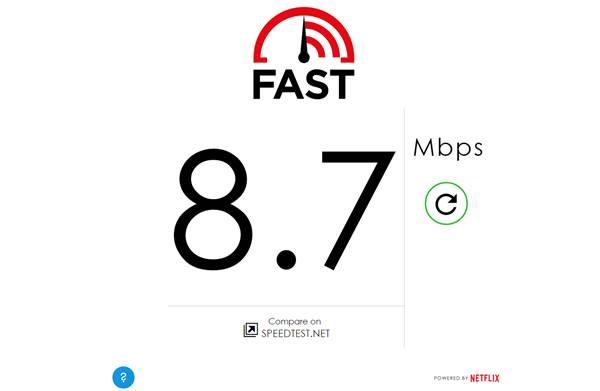 fast.com hız testi