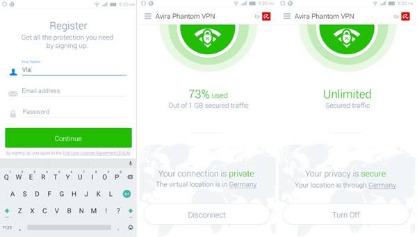 Avira Phantom VPN mobil